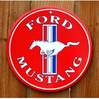 Ford Mustang White Pony Logo Tin Round Sign Red Shelby GT 5.0 5L Fastback G19