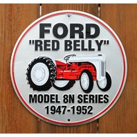 Ford  Red Belly Tractor Model 8N Series Tin Round Sign Farm Country Barn G20