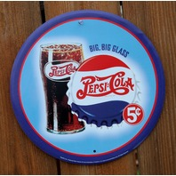 Big Big Glass Pepsi Cola Tin Sign Coke Soda Pop Vintage Style Bottle Cap G28