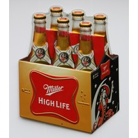 Miller High Life 6 Pack Premium Embossed Tin Sign Beer Bar Garage Ande Rooney FF