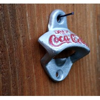 Cast Iron Coca Cola Bottle Opener Coke Pop Soda Vintage Style Kitchen Silver Red