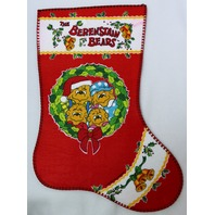 Vintage The Berenstain Bears Christmas Stocking Felt Stockings made in US