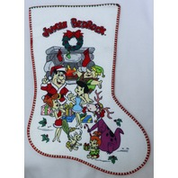 Vintage The Flintstones Jingle Bedrock Christmas Stocking Felt Stockings FF