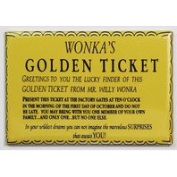 Wonka Golden Ticket FRIDGE MAGNET Willy Wonka chocolate factory entry ticket