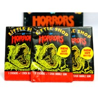 3 Packs of Vintage Topps Little Shop of Horrors Wax Pack Trading Cards 1986