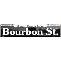 Rue Bourbon Street Tin Metal Street Sign New Orleans NOLA French Quarters F79