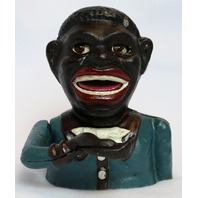 Cast Iron Jolly Boy Mechanical Bank Black Americana Vintage Style Desk Art