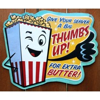 Extra Butter Popcorn Sign Tin Metal Sign Candy Kitchen Decor Home Movie Theater
