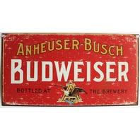 Anheuser Busch Budweiser Brewery Tin Metal Sign Red Beer Alcohol Bar Brew D31