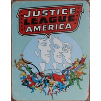 Justice League of America Tin Sign DC Comics Flash Wonder Woman Superman Batman