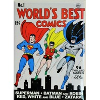 The World's Best Comics No.1 Fridge Magnet DC Comics Superman Batman Robin Zatar P16