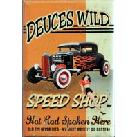 Deuces Wild Speed Shop FRIDGE MAGNET Hot Rod Rat Pin Up Garage DESM P11