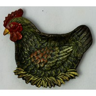 Vintage Styled Cast Iron Painted Farm Hen Ashtray Coin Dish Unique Metal Tray Chicken