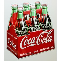 Coca Cola 6 Pack Bottles Carton Premium Embossed Tin Sign Ande Rooney  Coke Pop Soda FF11
