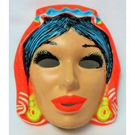 Vintage Gypsy Halloween Mask Zest Costume 1960's 60's Black Light Reactive