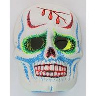 Vintage Sugar Skull Halloween Mask Zest 1960's 60's Skeleton Day of the Dead Black Light Reactive
