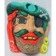 Vintage Pirate Halloween Mask Zest 1960's 60's Black Light Reactive