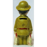 Cast Iron Soldier Piggy Bank Military Marine Army Office Desk Decor Vintage Style