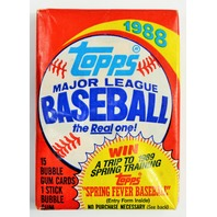 Vintage 1988 Topps Baseball Trading Cards MLB 88 Wax Pack
