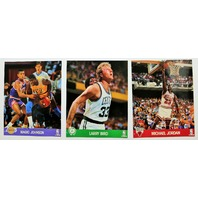 Vintage 1990 NBA Hoops Action Photos Large Basketball Cards Jordan Bird Magic Lot of 5