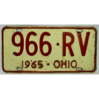 Vintage 1965 License Plate Ohio Hot Rod Muscle Car Historical Vehicle Garage 65
