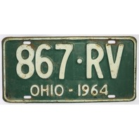 Vintage 1964 License Plate Ohio Hot Rod Muscle Car Historical Vehicle Garage 64