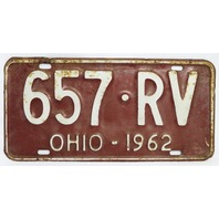 Vintage 1962 License Plate Ohio Hot Rod Muscle Car Historical Vehicle Garage 62