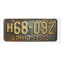 Vintage 1932 License Plate Ohio Hot Rod Muscle Car Historical Vehicle Garage 32