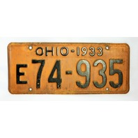 Vintage 1933 License Plate Ohio Hot Rod Muscle Car Historical Vehicle Garage 33