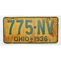 Vintage 1936 License Plate Ohio Hot Rod Muscle Car Historical Vehicle Garage 36