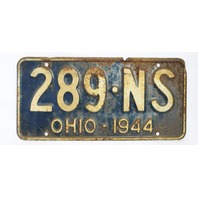 Vintage 1944 License Plate Ohio State Hot Rod Muscle Car Historical Garage 44