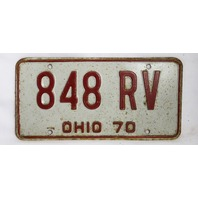Vintage 1970 License Plate Ohio State Hot Rod Muscle Car Historical Garage 70
