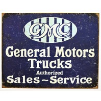 GMC General Motors Trucks Authorized Sales Services Tin Sign Garage GM F27