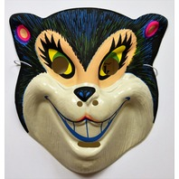 Vintage Black Cat Halloween Mask Topstone Black Light Reactive 1980's 80's Cheshire