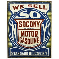 We Sell Socony Gas Tin Metal Sign Standard Oil New York Vintage Style B36