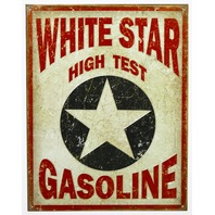 White Star High Test Gasoline Tin Metal Sign Texaco Oil Gas Hot Rod B9