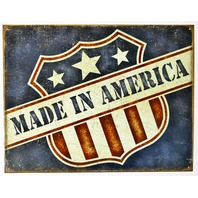 Made In America Tin Metal Sign Small Business USA United States American Flag B36