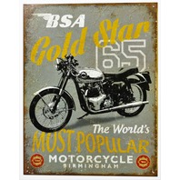 BSA Motorcycles Gold Star 65 Tin Metal Sign Birmingham Small Arms Vintage Style AD