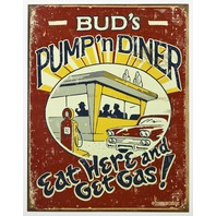 Buds Pump n Diner Eat Here and Get Gas Tin Metal Sign Garage Humor Funny  Kitchen D24