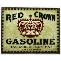 Red Crown Gasoline Tin Metal Sign Vintage Style Standard Oil Nebraska Gas D24