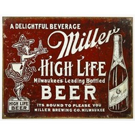 Miller High Life Vintage Style AD Tin Metal Sign Beer Alcohol Bar Man Cave F26
