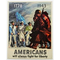Americans Will Always Fight For Liberty Tin Metal Sign Americana Military USA American Flag Pride D46