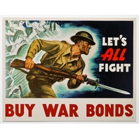 Lets All Fight Buy US War Bonds Tin Metal Sign Americana Military Vintage Style AD D46