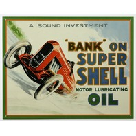 Bank On Super Shell Oil Tin Metal Sign Drag Racing Race Car Gas Gasoline C65