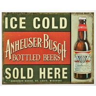 Ice Cold Anheuser Busch Beer Sold Here Tin Metal Sign Budweiser Vintage Style AD D46