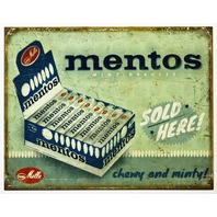 Mentos Mint Candy Sold Here Tin Metal Sign Vintage Style AD Drug Store F25