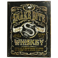Snake Bite Whiskey Distilling Co Tin Metal Sign Bootlegger Alcohol Moonshine Brew Bar B12