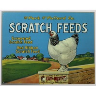Park and Pollard Scratch Feed Tin Metal Sign Vintage Style AD Chicken Farm Rooster