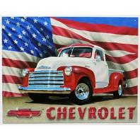 Chevrolet  Pickup Truck Tin Metal Sign 1950 Chevy American Flag America USA B36