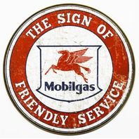 Mobilgas Round Tin Metal Signs Gasoline Gas Pegasus Vintage Style Gasoline Oil A18